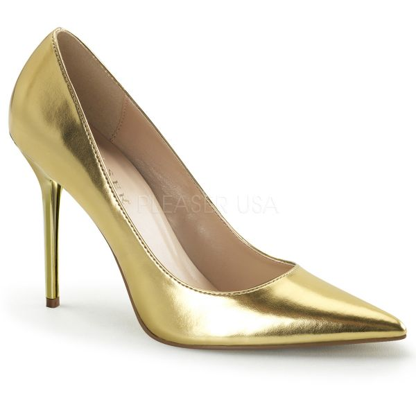 Klassischer Pumps in gold Kunstleder mit Stiletto Absatz CLASSIQUE-20